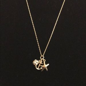 J Crew nautical themed gold necklace